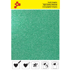 437A Glitterová zelená (Arch) nažehlovací fólie / POLI-FLEX PREMIUM